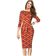 New Womens Vintage Elegant Tartan Flounced Peplum Ruched Tunic Work Party Cap Sleeve Bodycon Sheath Dress Free Shiping