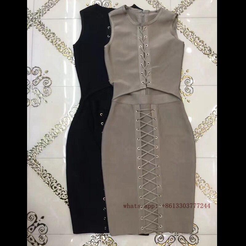 Bandage 2017 Robes D'été Longueur Piste Genou Manches De Top Noir Robe Gris Évider Cocktail Qualité Femmes Sans 7qr70Cw