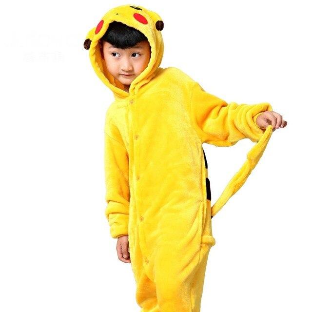 pokemon animal cosplay halloween costumes for kids children flannel pikachu pajamas onesie hooded sleepwear sleepsuit boys