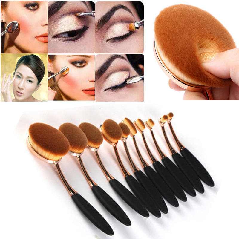 10Pcs Tooth Shape Oval Make Up Brushes Foundation Powder Contour Pro Brush Set Toothbrush Face Eye