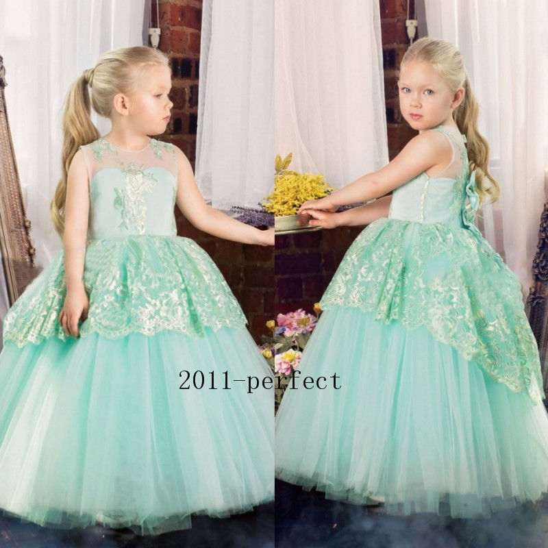 Mint Green Lace Flower Girl Dress Pageant Party Prom Bow Wedding Ball Gowns Kids girls clothes elegant lace floral appliques flower girls dress cute mint green sleeveless pearls beaded kids pageant ball gowns for communion