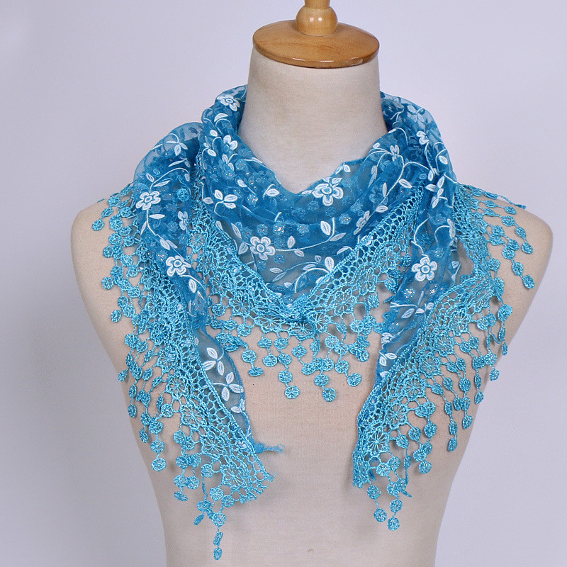 New Brand Design Summer Lady Lace Scarf Tassel Sheer Metallic Women Triangle Bandage Floral Scarves Shawl A30