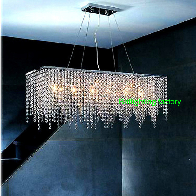 Kitchen Chandeliers Covered Outdoor Modern Crystal Chandelier Light For Dining Room Led Rectangle Lighting Hanging Lamp