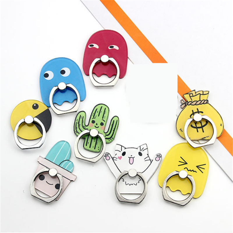 360 Degree Cartoon Cactus Cat Finger Ring Smartphone Stand Holder Mobile Phone Holder Stand For Iphone 8 X 6 7 Huawei P20 Lite