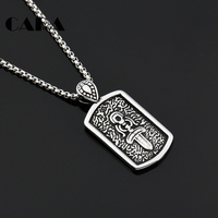 CARA NEW Arrival 316L Stainless Steel Rune Square Plate Charm Necklace Mens Hip Hop Punk Stylish