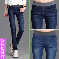 AQ226 Winter Autumn Plus Size Warm Velvet Jeans Fashion Elastic Waist Pencil Jeans Skinny Slim Female