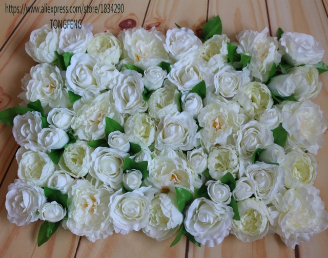 artificial flower wall silk rose and peony wedding background decoration table centerpiece flower ivory 10pcs - Garden Rose And Peony