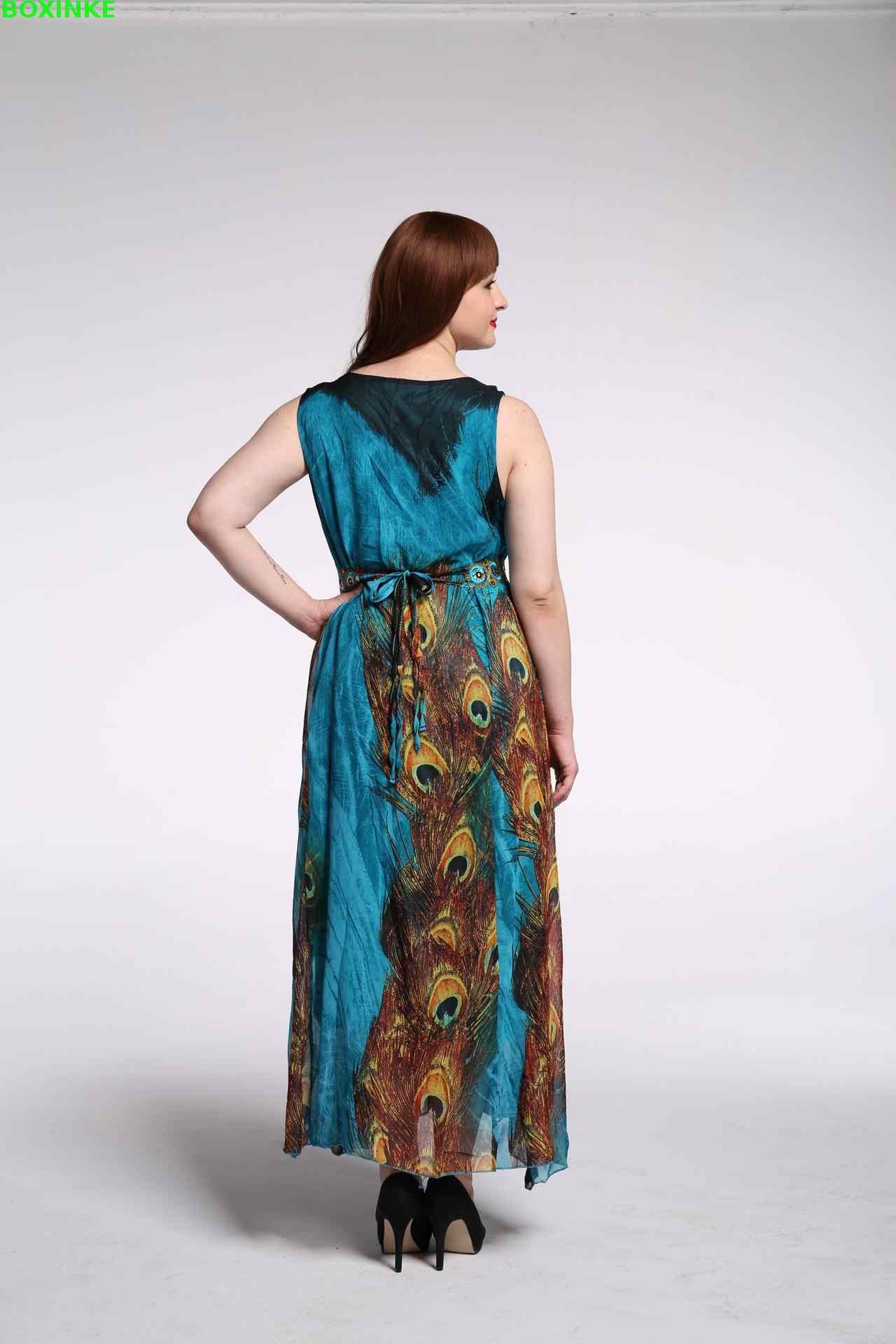 Vadim Макси платье ограниченное богемное платье трапециевидной формы с принтом и летний женский новый комплект в национальном богемном стиле с длинным кодом