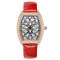 Новый Вино Баррель Тип полный алмазов часы женские роскошные женские кварцевые часы лучший бренд Женская одежда часы кожаный Водонепрониц