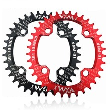 VXM Bicycle Crank 104BCD Round Oval 32T 34T 36T 38T Chainring Narrow Wide MTB Road Bike Single Sprocket Crankset Black/Red