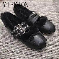 YIFSION/Новые модные женские балетки из натуральной кожи на плоской подошве с круглым носком и ремешком с пряжкой, женская теплая обувь на плос