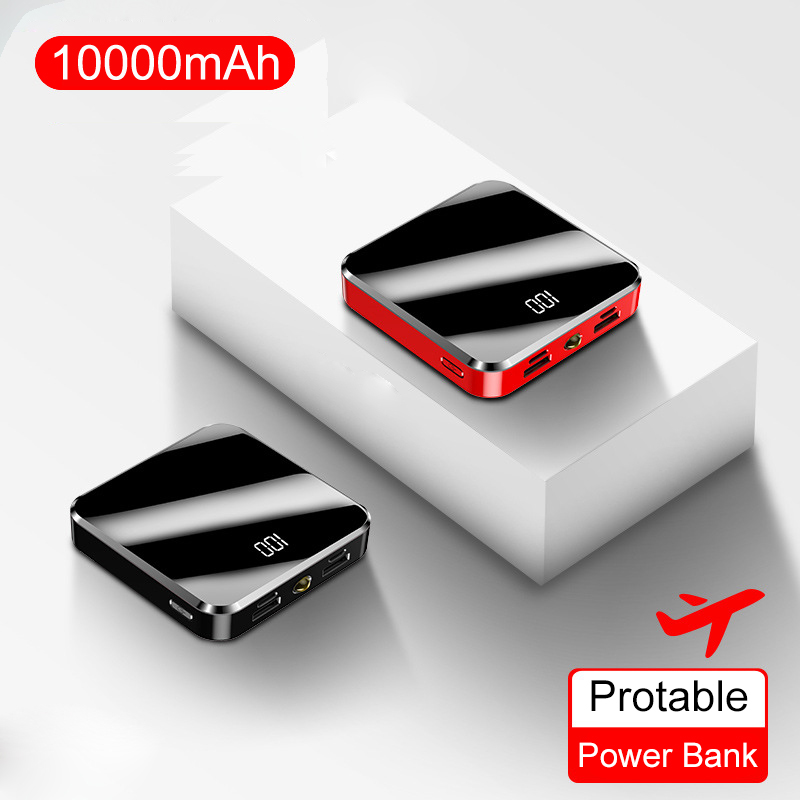 100% Portable Charger Power Bank 10000 mAh Mini PowerBank Mirror Screen External Battery Pack For Smart Mobile Phone