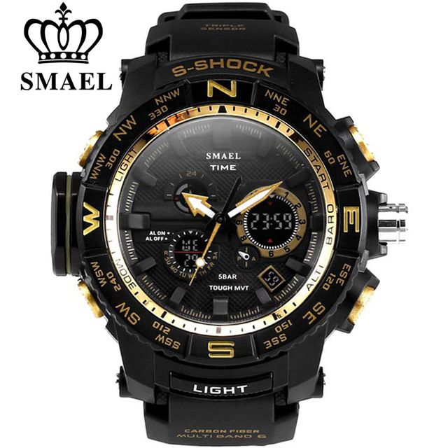 SMAEL brand men sports watches dual display analog digital LED Electronic quartz watches waterproof swimming watch man military
