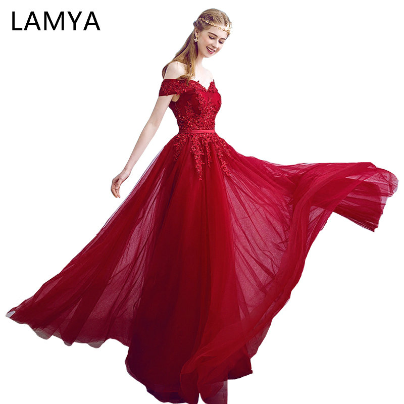 Lamya 2018 New Women Prom Long   Evening     Dresses   Elegant Lace Boat Neck Banquet Formal Party Gowns vestido de festa longo