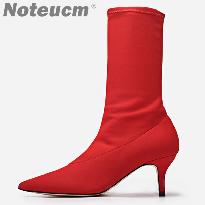 2018 fashion luxury sexy female red stretch knit fabric sock low heel boots ankle femme boots shoes for women Rihanna Kardashian 2018 sexy women thigh high knit boots stretch fabric kim kardashian sock bootie chunky high heel women elastic desert boots