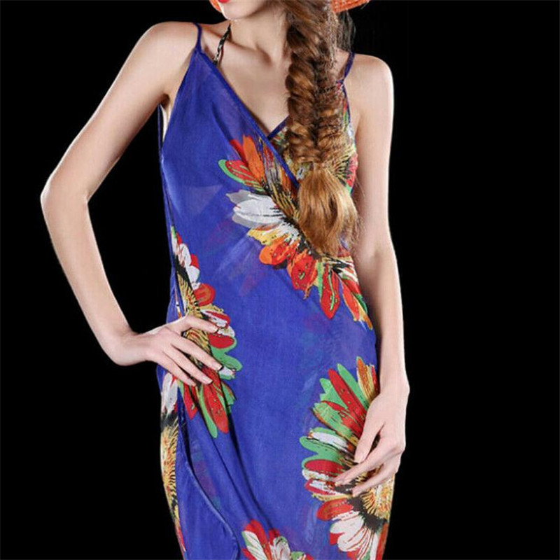Women Floral Printed Bikini Cover Up New Sexy V-neck Strappy Beach Dress Ladies' Summer Sarong Wrap Pareo Covers Up Hot Selling
