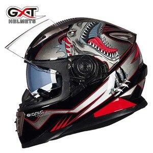 Image 5 - Winter Weiß dinosaurier GXT Doppel objektiv Volle Gesicht moto rcycle Helm, männer moto moto rbike helm mit Integrierten objektiv kann versteckte