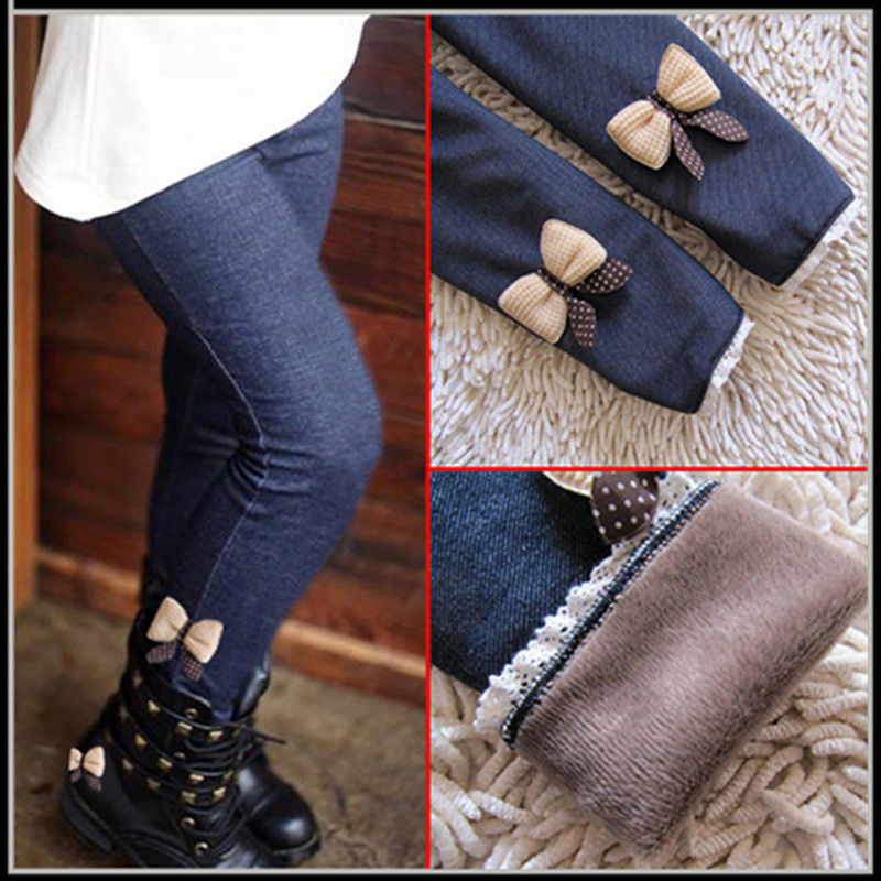 Thicken Flannel Leggings Winter Girls High waist Warm Jeans Pants Bow Lace