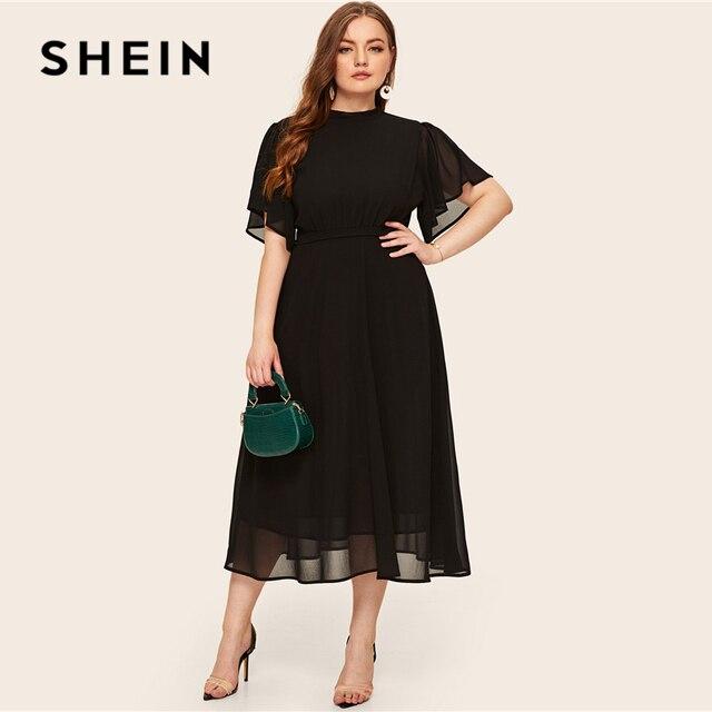 SHEIN Plus Size Black Tie Back Flutter Sleeve Dress 2019 Women Summer Elegant Stand Collar High Waist A Line Plus Long Dresses 4