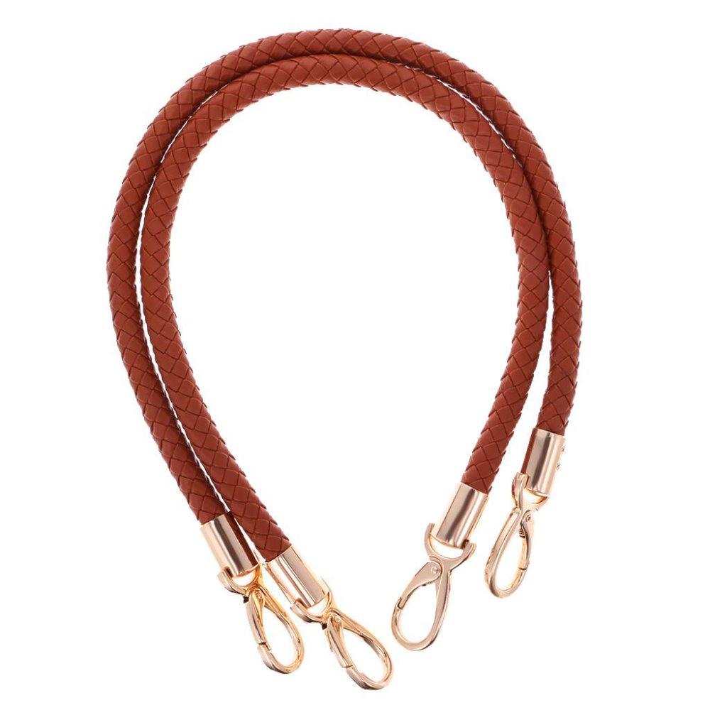 Beige HEEPDD Bag Strap 2Pcs 21.7 Inch Handmade Leather Bag Handles with Light Gold Rivets for Shoulder Bag Purse Making Supplies