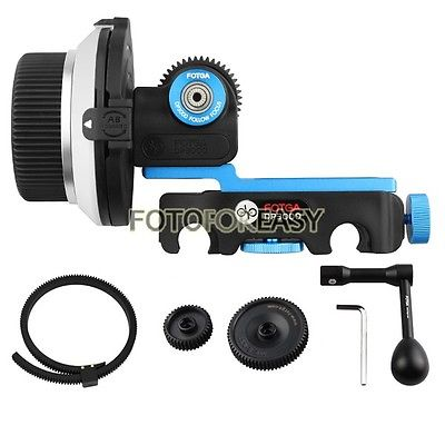 FOTGA DP3000 DSLR Quick Release Clamp Follow Focus for 15mm Rod+Speed Crank+Gear