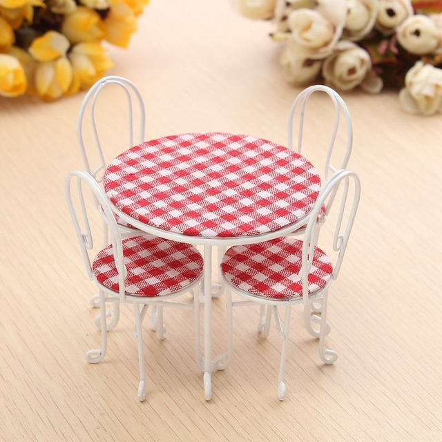 New 1/12 5Pcs/set Tables Chairs Set For Doll house Miniature Ornaments Kitchen Acessories Food Furniture Dollhouse Decoration