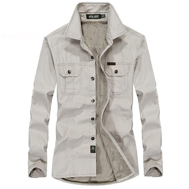 Koszula Mężczyźni Zimowe Ubrania Nowe Casual Grube Ciepłe