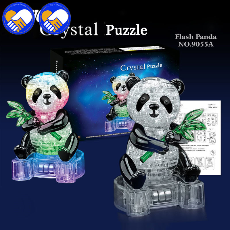 A TOY A DREAM 3D Puzzles DIY Crystal Green Bamboo Flash Panda With Light 3D Crystal Puzzles Assembled DIY Model Birthday Gift