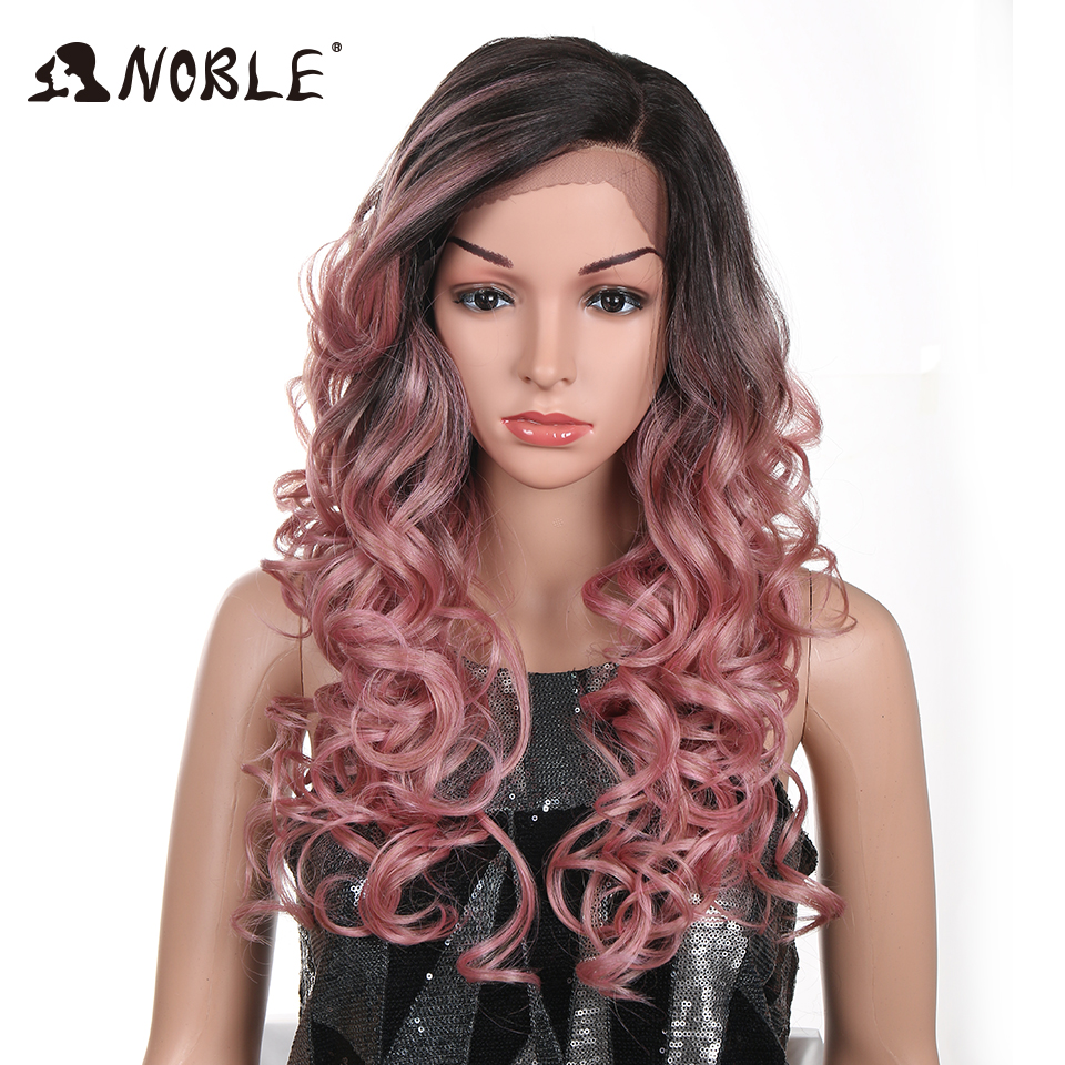 Noble Hair Synthetic L Lace Front Wigs 22Inch Pink Red Color Glueless Heat Resistant Fiber Hair 150% Density Hand Tied Lace Part