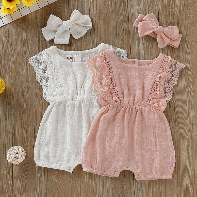 Summer Newborn Girls Rompers Set Toddler Infant Flare Sleeve Solid Print Lace Design Romper Jumpsuit with Headband One-PiecesSummer Newborn Girls Rompers Set Toddler Infant Flare Sleeve Solid Print Lace Design Romper Jumpsuit with Headband One-Pieces