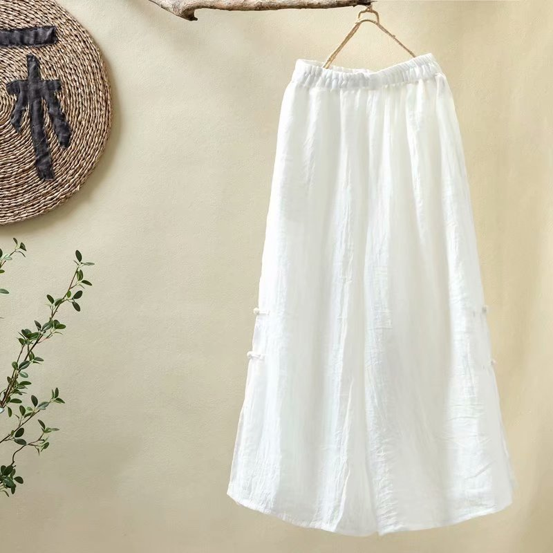 Original Ethnic Style Women Clothing Han Hemp   Wide     Leg     Pants   Plate Button Cotton Solid Color Zen Tea   Pants