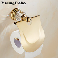 New Arrivals Luxury Crystal Golden Style Toilet Paper Holder Wall Mounted Tissue Roll Holder Bathroom Accessories Bath Hardware