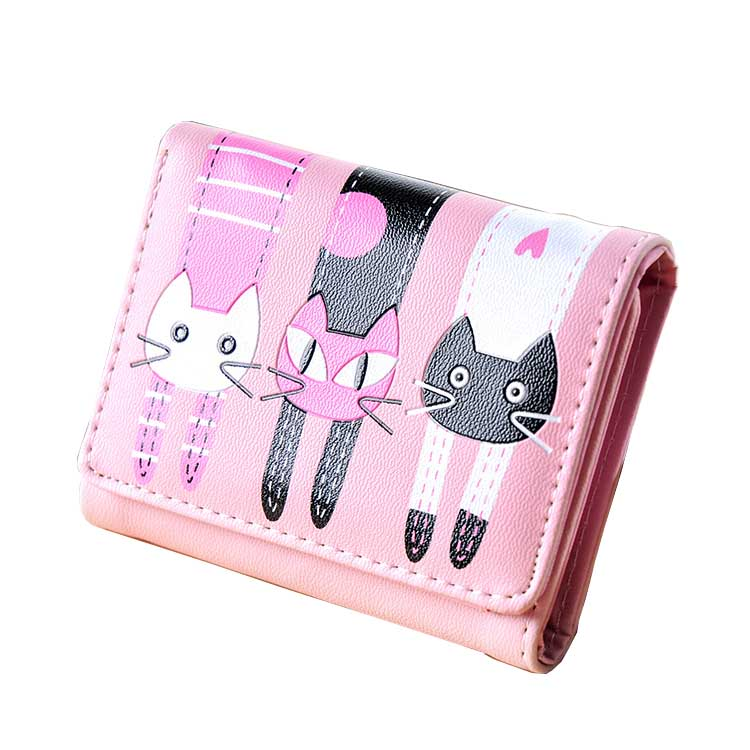 2018 HOT New Coming Fashion Lady Women Short Check Purse Cat lovely wallet PU Leather wallet Card holder Famous brand Wallet thinkthendo hot love heart short wallet purse for fashion lady lovely mini day clutch