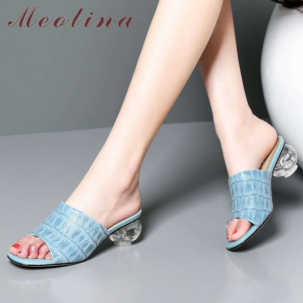 Meotina Women Slides Sheepskin Summer Shoes Natural Genuine Leather Strange Style Heel Shoes Transparent Open Toe Slippers LadyMeotina Women Slides Sheepskin Summer Shoes Natural Genuine Leather Strange Style Heel Shoes Transparent Open Toe Slippers Lady
