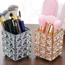 Maquillaje de cristal de Metal pincel titular de la pluma tocador decoración maquillaje organizador caja de Almacenamiento Herramientas de manicura