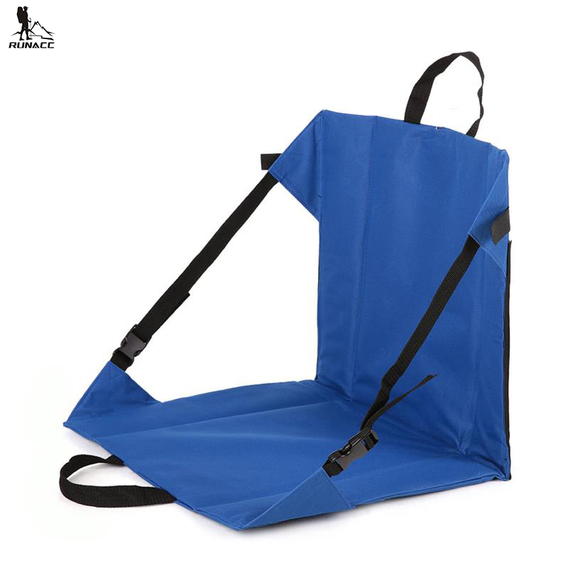 RUNACC Outdoor Creek Chair Oxford Cloth Mountaineering Seat Folding Seat Mat Portable Chair with 2 Webbing Handles Blue