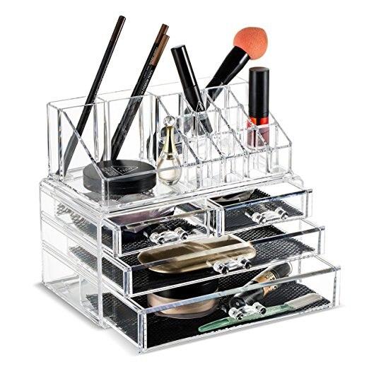 3 tiroirs acrylique clair maquillage organisateur cosmétique porte-brosse et organisateur de stockage de bijoux