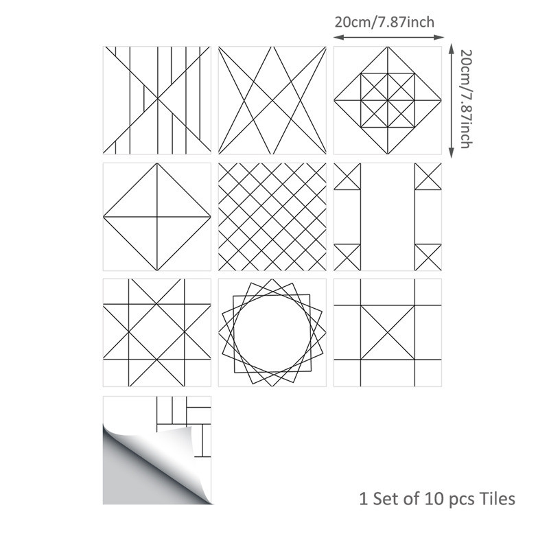 Hot Geometric Line Pattern Wall Sticker Removable Waterproof PVC Wallpaper for Bathroom Kitchen Floor Home Decor Vinyl Art Decal in Wall Stickers from Home Garden