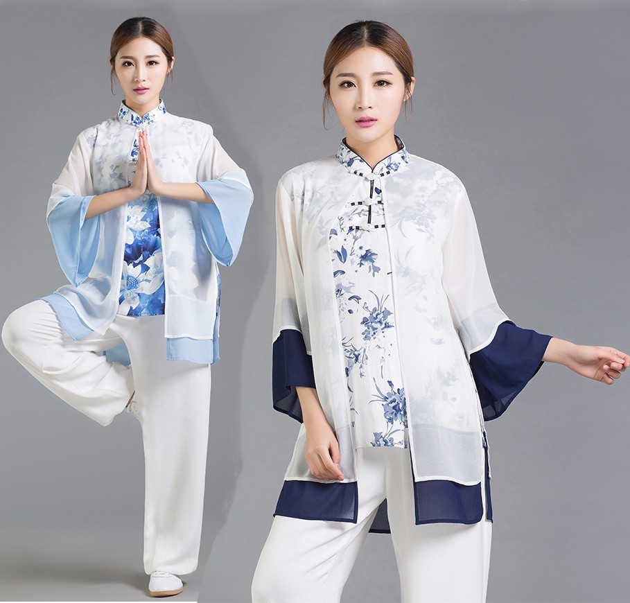 Tai Chi Clothing Women Tai Chi Uniform Ladies Suit Printed Three Piece Jacket Pants And Veil printed jacket and pocket design pants twinset