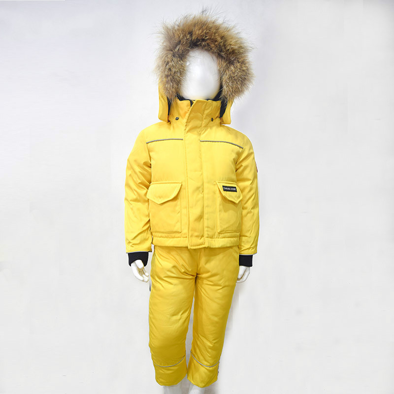 Winter Girls Boys Snow Wear Kids Ski Suits Solid Color Jacket+Skiing Pants Real Fur Girls Warm Winter Clothes Yellow Blue ws715 men s autumn winter wear multi pocket polyester slim jacket deep blue yellow l