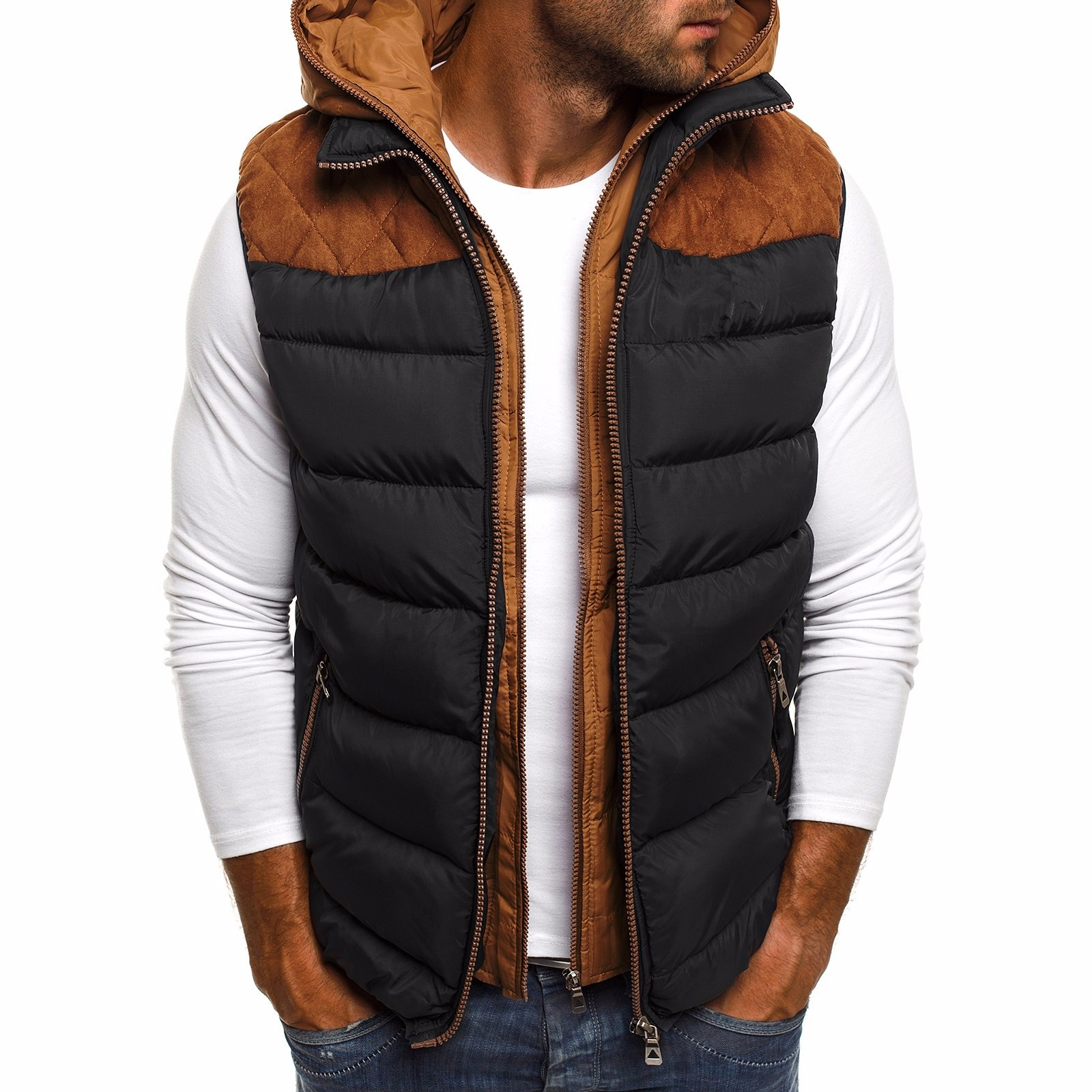 ZOGAA 2019 Causal Solid Simple Zipper Men Down Jacket Men Sleeveless Winter Coat Men Winter Mens Clothing 4 Colors(China)