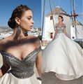 Sexy decote em V uma linha Satin frisada marfim strass Prom vestidos longos 2016 Jessica Rabbit vestido Zipper Up tribunal trem 59153