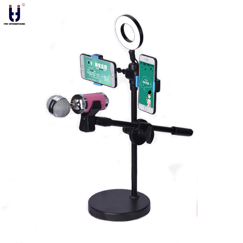 Selfie Ring Light 360 Degree Swing Boom Table Stand Microphone Holder two cell Holder mic stand