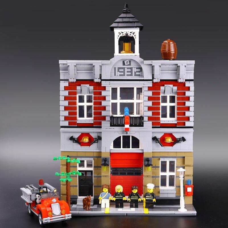 ФОТО LEPIN 15004 2313Pcs City Street Creator Fire Brigade Model Building Kits Blocks Bricks Compatible 10197 Brick