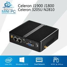 Fanless Mini PC Celeron J1900 J1800 Windows 10 Linux Dual LAN 2 COM Celeron N2810 HDMI WIFI usb 2*RJ45 computer pc