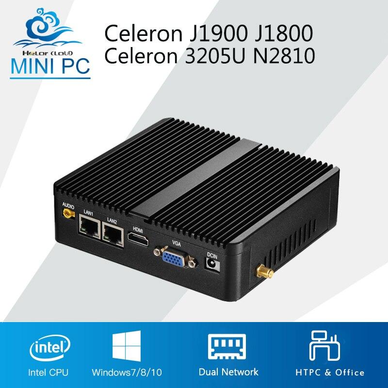 Mini PC Celeron J1900 J1800 Finestre 10 Linux 2 LAN 2 COM Celeron 3205U N2810 Dual Core Mini Computer Industriale HDMI 2 * RJ45