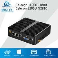 Mini PC Celeron J1900 J1800 Windows 10 Linux 2 LAN 2 COM Celeron 3205U N2810 double coeur Mini ordinateur industriel HDMI 2 * RJ45