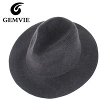 cc6bd4410cd4a 100% Real Wool Fedoras Hats For Women and Male Solid Wide Brim Vintage Jazz  Caps