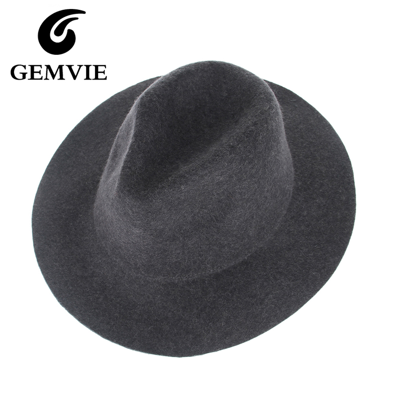 100% Real Wool Fedoras Hats For Women and Male Solid Wide Brim Vintage Jazz Caps Casual Soft Cashmere Fedora cap female gifts