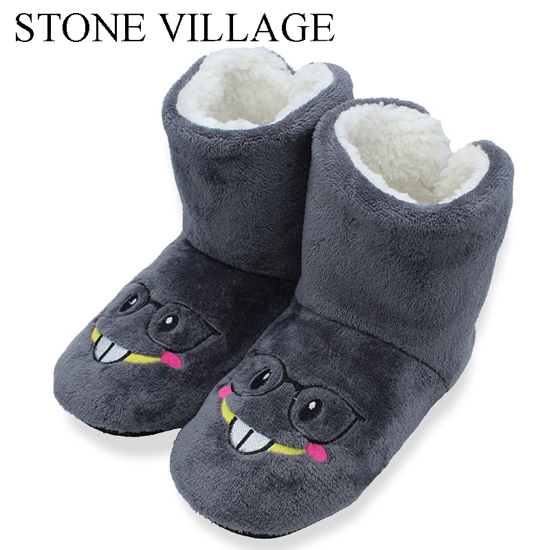 STONE VILLAGE Cartoon Cute Indoor Slippers Reindeer Pattern Plush Indoor Cotton Shoes Non-slip EVA Sole Floor Slippers 18122